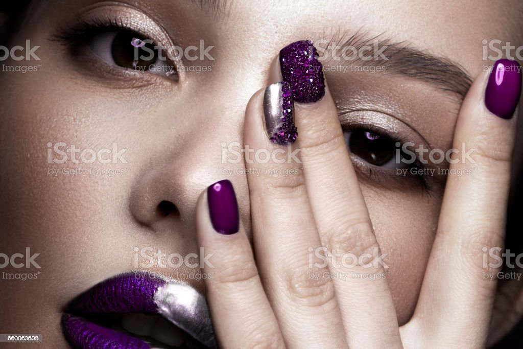 Beautiful Girl With Art Makeup Dark Glitter Lips Design And Manicured Nails Beauty Face Close Up Stock Photo Download Image Now Istock