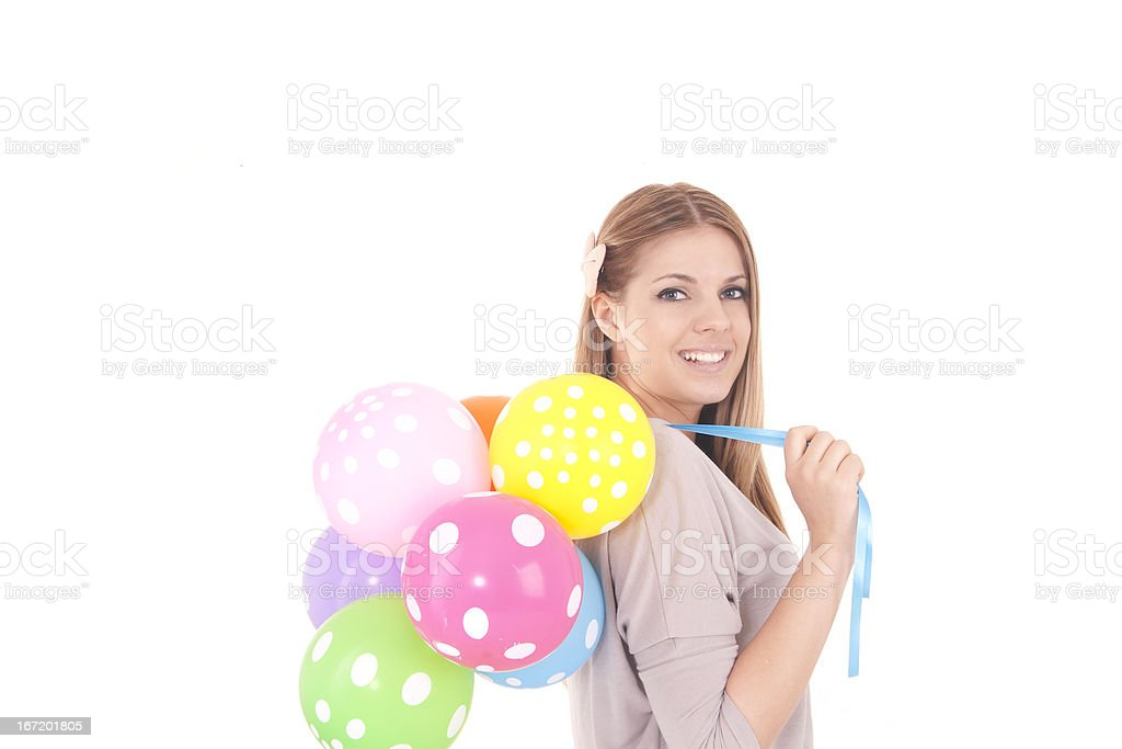 beautiful girl with balloons royalty-free stock photo