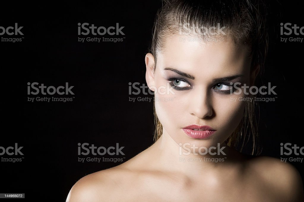 Beautiful girl with bare shoulders stock photo