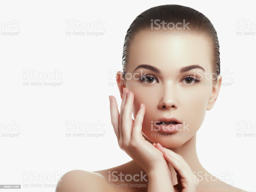Beautiful Girl With Beautiful Makeup Youth And Skin Care Concept Woman Beauty Face Portrait Isolated On White With Healthy Skin Portrait Spa Woman With Perfect Skin Stock Photo Download Image Now