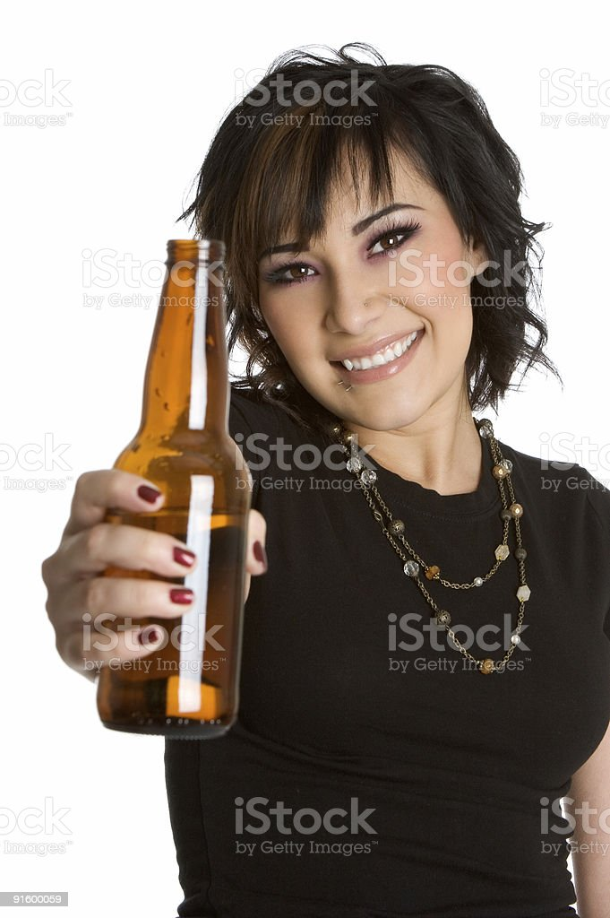 Beautiful girl with beer royalty-free stock photo