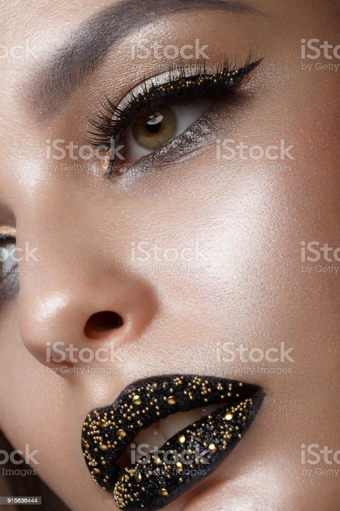 Beautiful Girl With Black Creative Art Makeup Beauty Face Stock Photo Download Image Now Istock