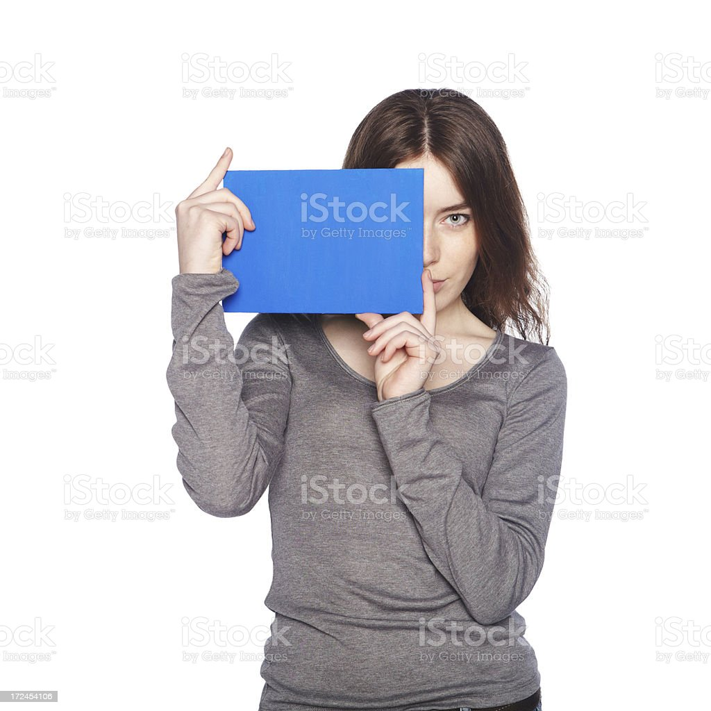 Beautiful girl with blank blue banner. royalty-free stock photo