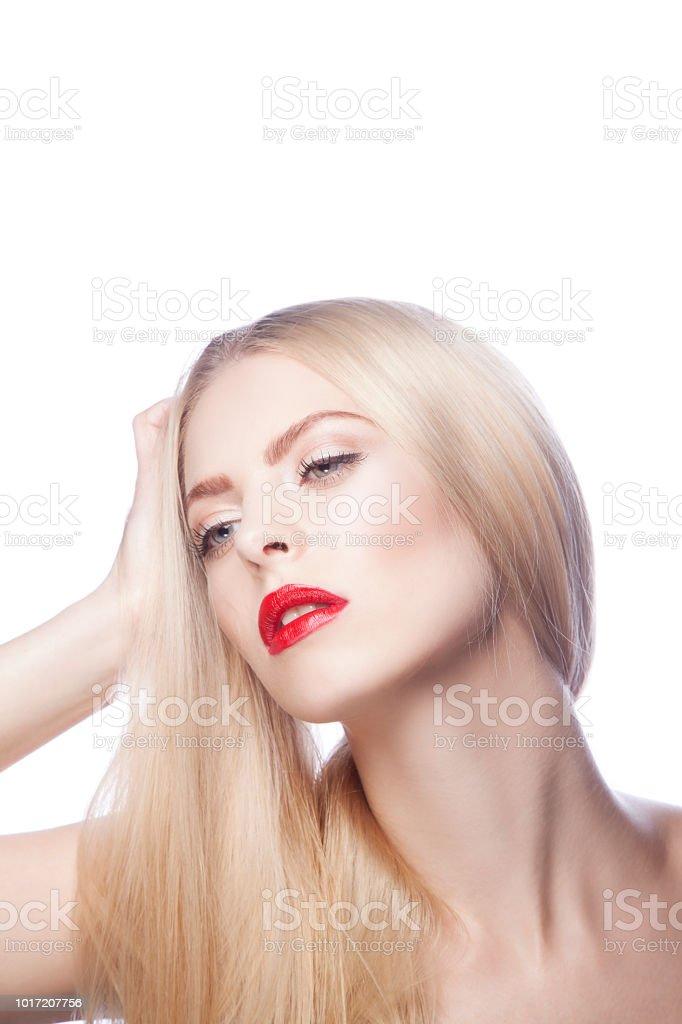 Schöne Mädchen Mit Blonden Haaren Stil Und Hellen Makeup Stock