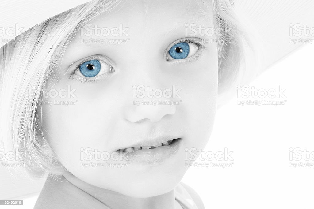 Beautiful Girl With Blue Eyes In Hat royalty-free stock photo