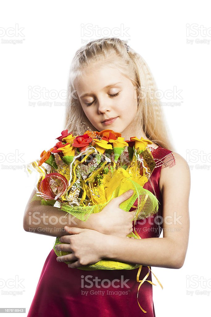 Beautiful girl with bouquet royalty-free stock photo