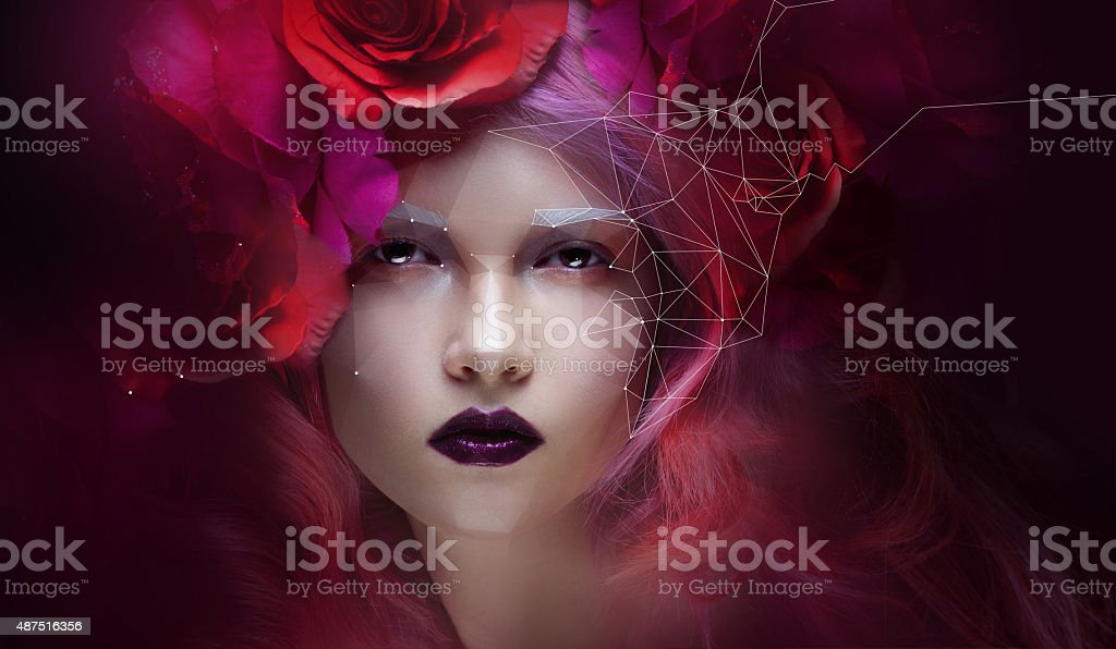 Beautiful girl with bright pink hair, small effect Low Poly stock photo