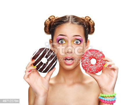 692840848istockphoto Beautiful girl with colorful donuts. 497122794