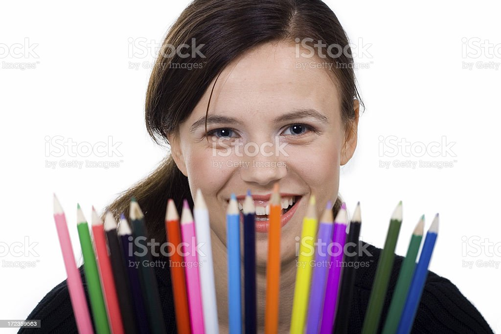 Beautiful girl with colour crayons royalty-free stock photo