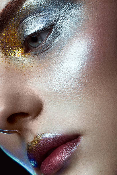 beautiful girl with creative golden and silver glitter make-up - beautiful curvy girls stock photos and pictures