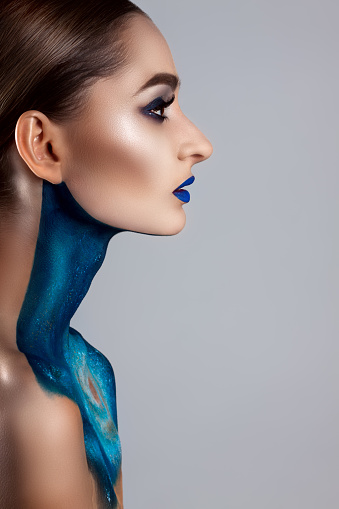 Beautiful Girl With Creative Makeup Bright Colors Of Blue Lips Conceptual Art Space The Universe Stock Photo Download Image Now Istock