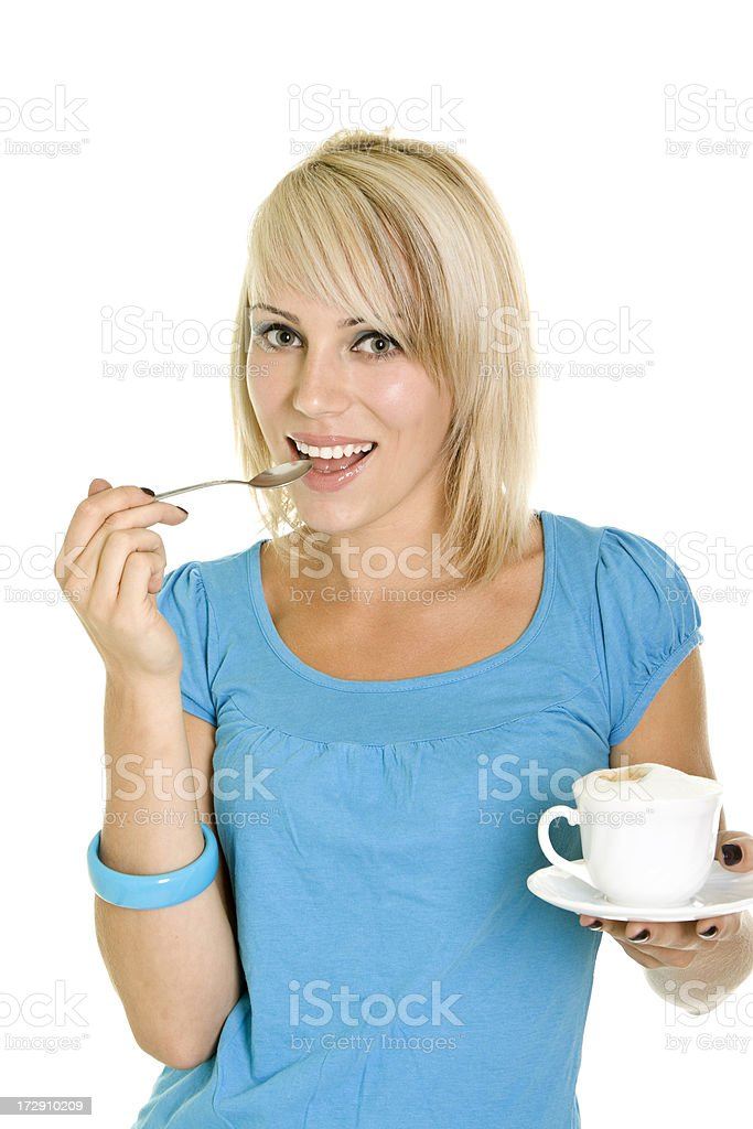 Beautiful girl with espresso royalty-free stock photo