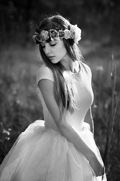 Beautiful girl with flower tiara stock photo