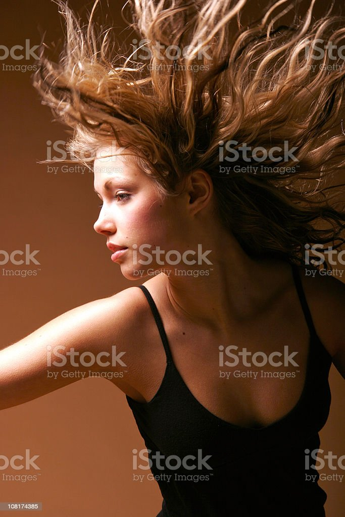 Beautiful girl with flying air stock photo