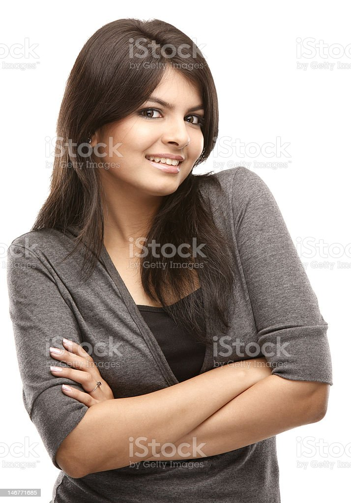 beautiful girl with folded hands stock photo