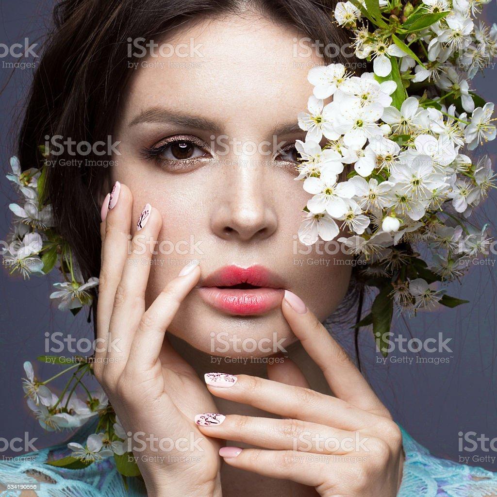 Beautiful girl with gentle romantic makeup pink lips and flowers beautiful girl with gentle romantic make up pink lips and flowers royalty free izmirmasajfo
