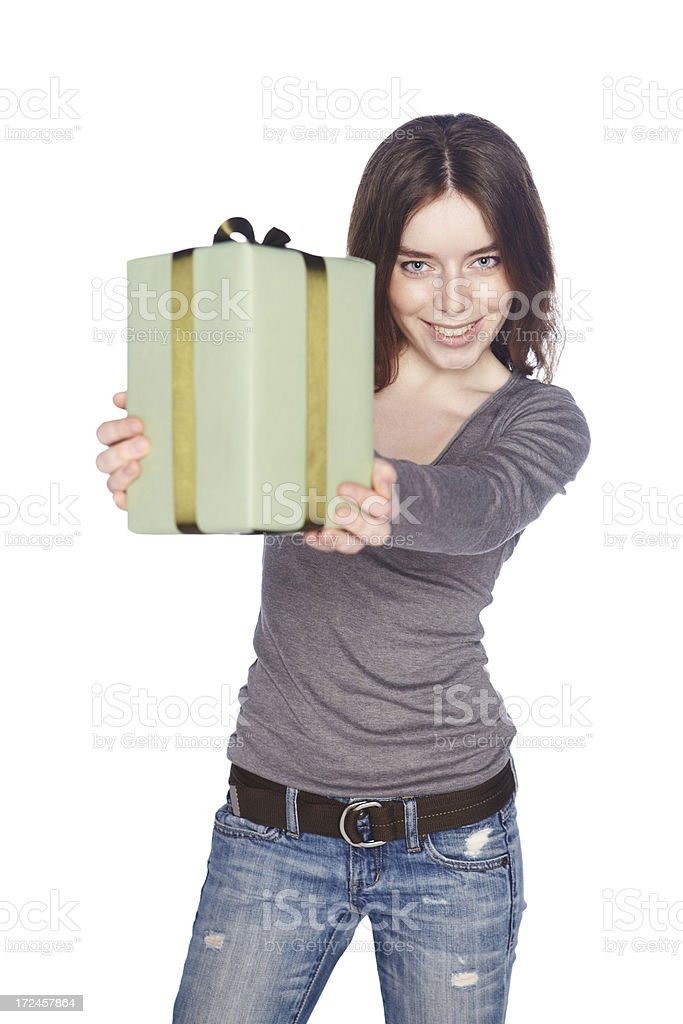 Beautiful girl with gift box. royalty-free stock photo