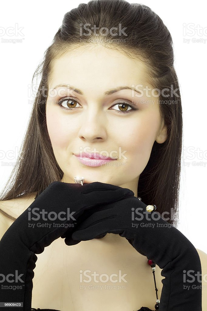 Beautiful girl with gloves royalty-free stock photo