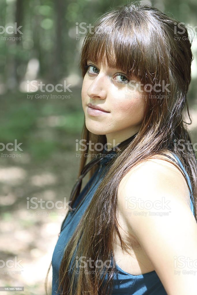 Beautiful girl with green eyes stock photo