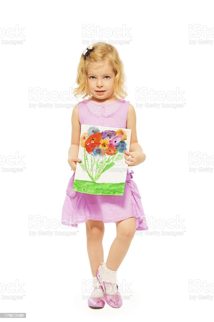 Beautiful girl with her flower drawing stock photo