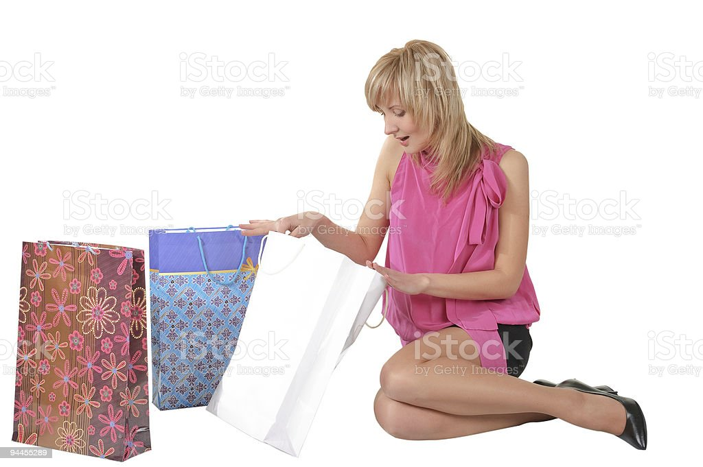 beautiful girl with her shopping bags royalty-free stock photo