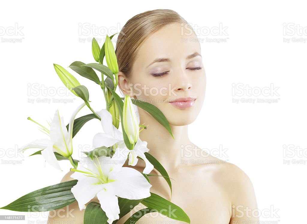 Beautiful girl with lily flower Isolated on white royalty-free stock photo