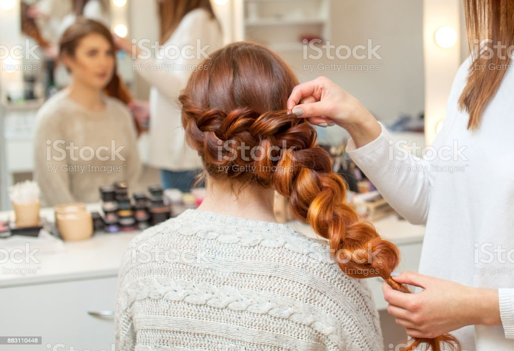 Beautiful Girl With Long Redhaired Hairy Hairdresser Weaves A French