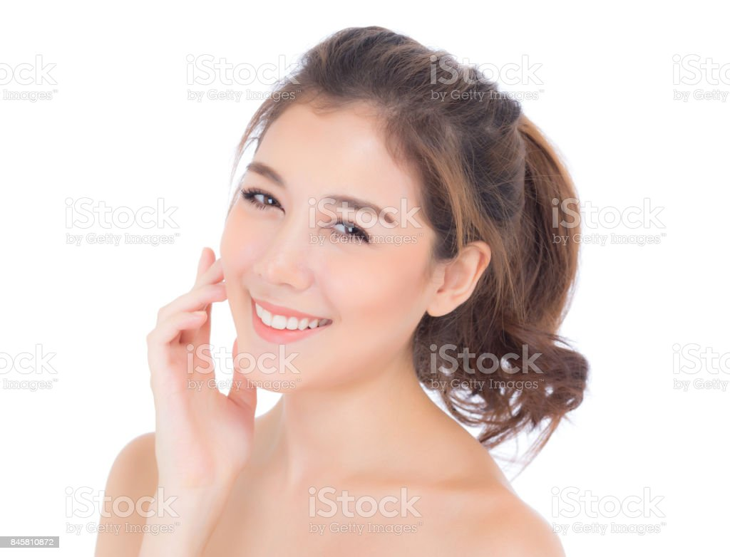 Beautiful girl with makeup, woman and skin care cosmetic concept / attractive asia girl on face isolated on white background. stock photo