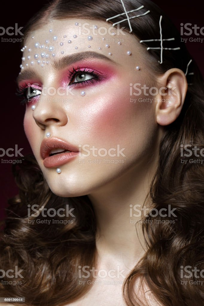 Pearl Makeup >> Beautiful Girl With Perfect Art Makeup And Pearl Beads Beauty Face Stock Photo Download Image Now