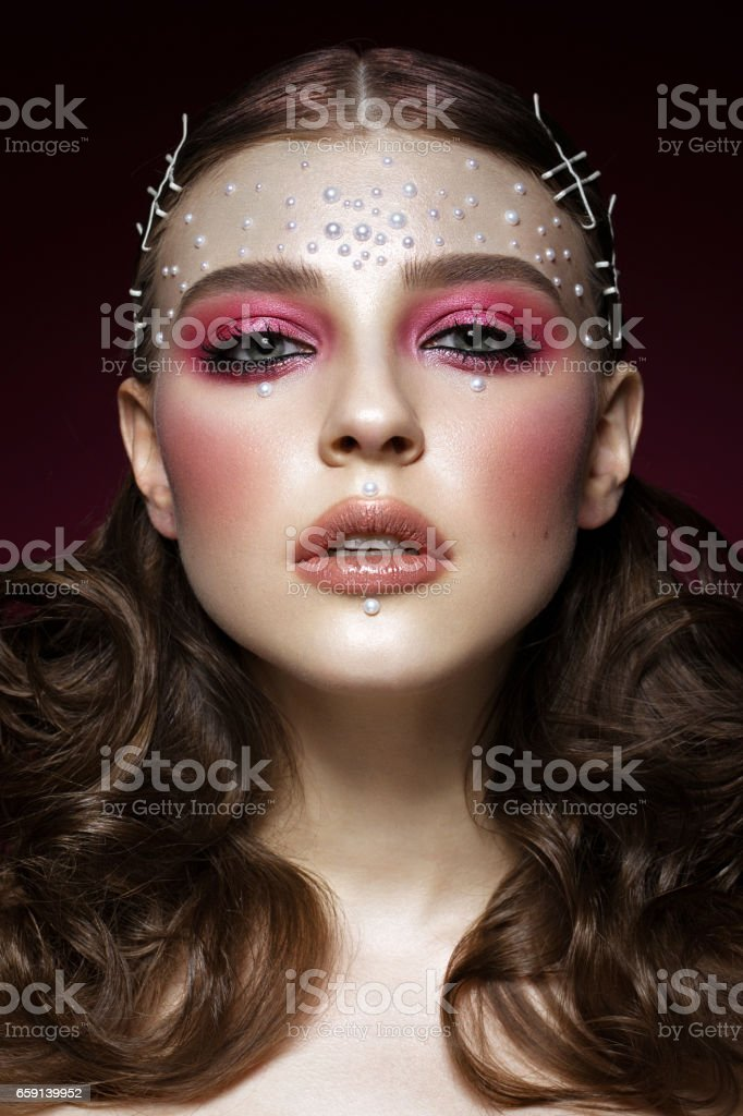 Beautiful Girl With Perfect Art Makeup And Pearl Beads Beauty Face Stock Photo Download Image Now Istock