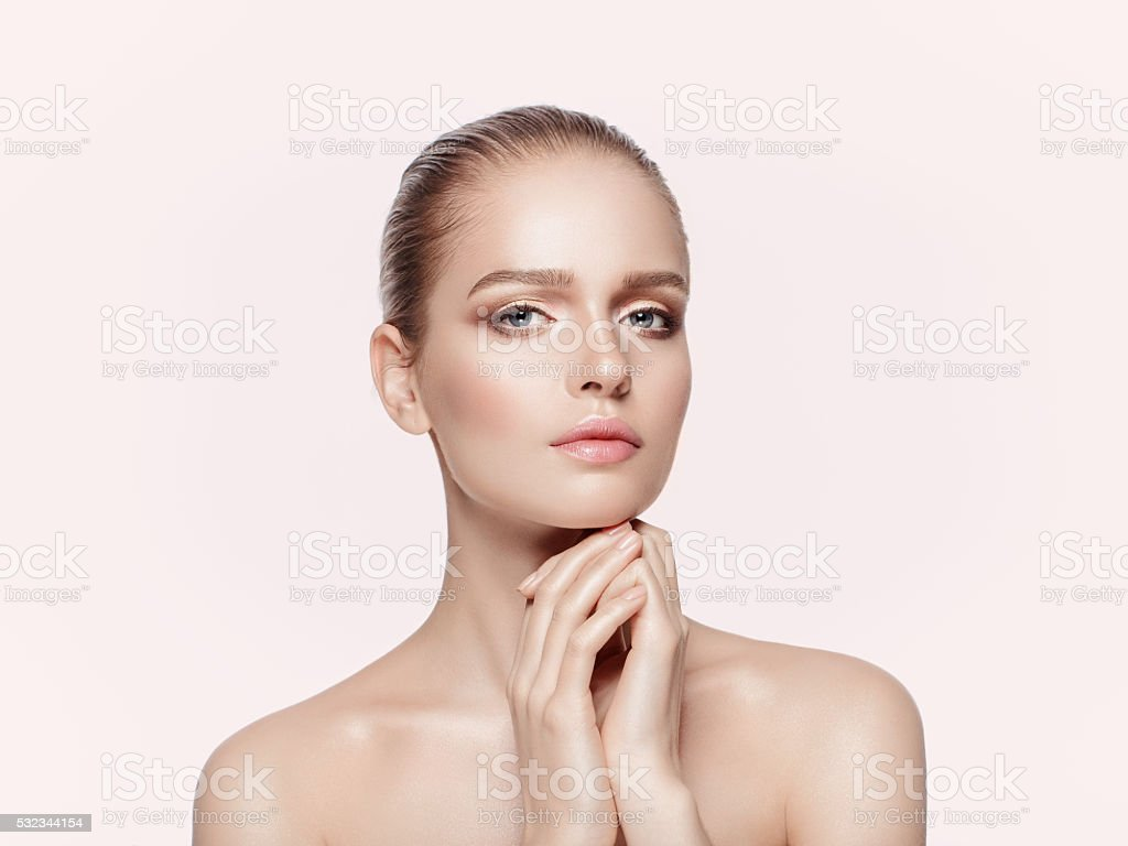 beautiful girl with professional makeup stock photo