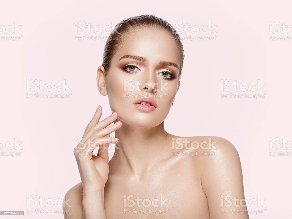 beautiful girl with professional makeup stock photo