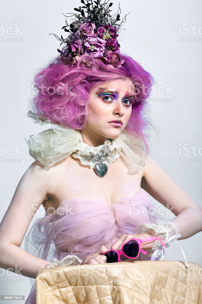 Beautiful girl with purple hair. Bright makeup - Royalty-free Adult Stock Photo