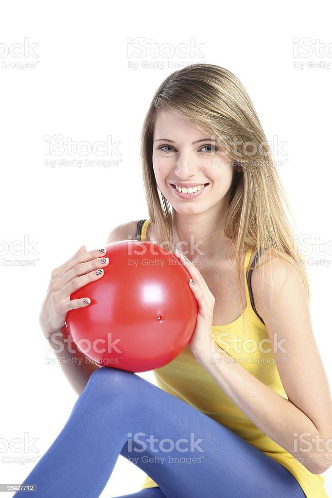 Beautiful girl with red ball royalty-free stock photo