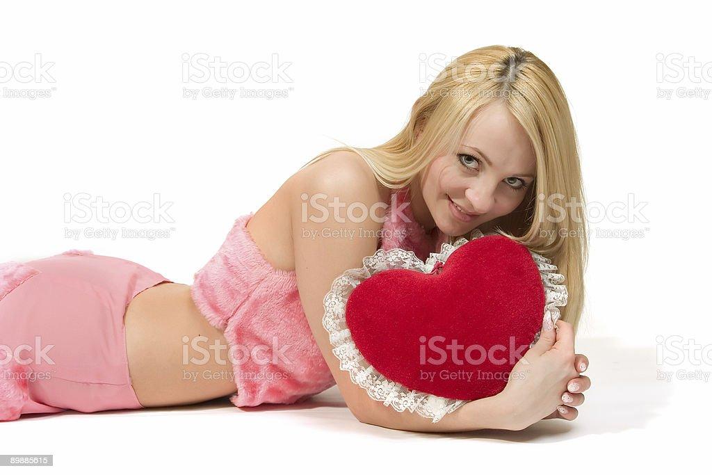 Красивая девушка с Красные сердца. Стоковые фото Стоковая фотография