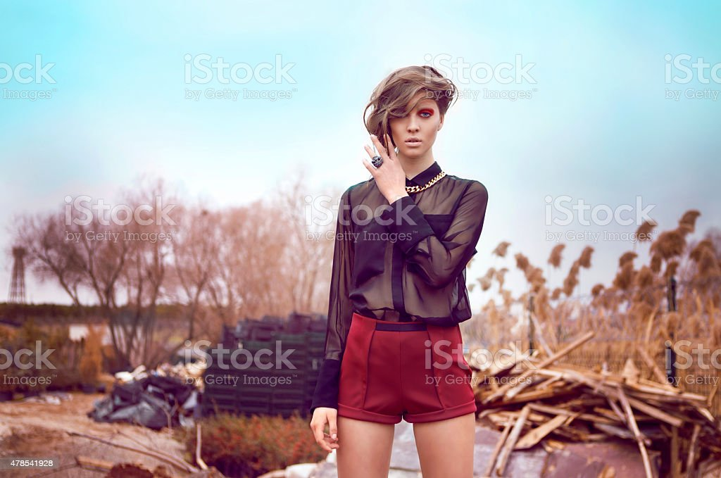 Beautiful Girl with Red Short and Black Shirt stock photo