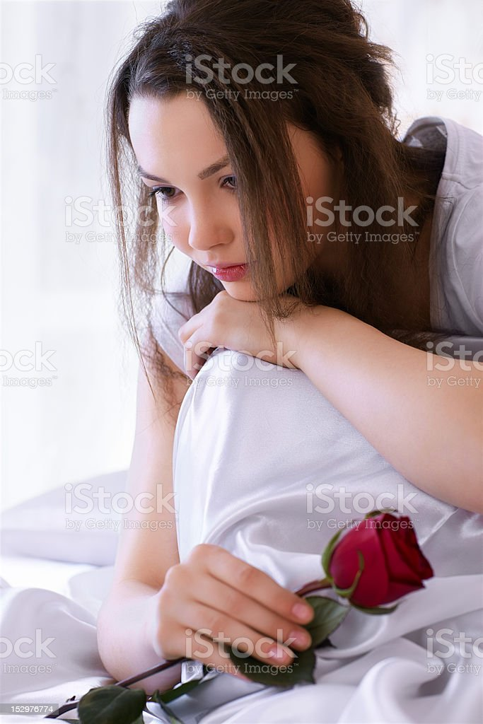 beautiful girl with rose royalty-free stock photo