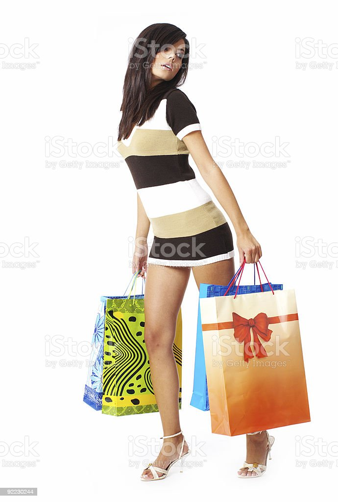 Beautiful girl with shopping bags royalty-free stock photo
