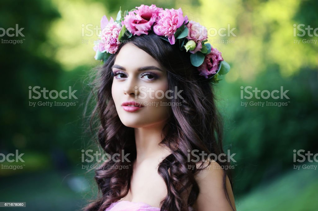Beautiful Girl with Spring Flowers Outdoor stock photo