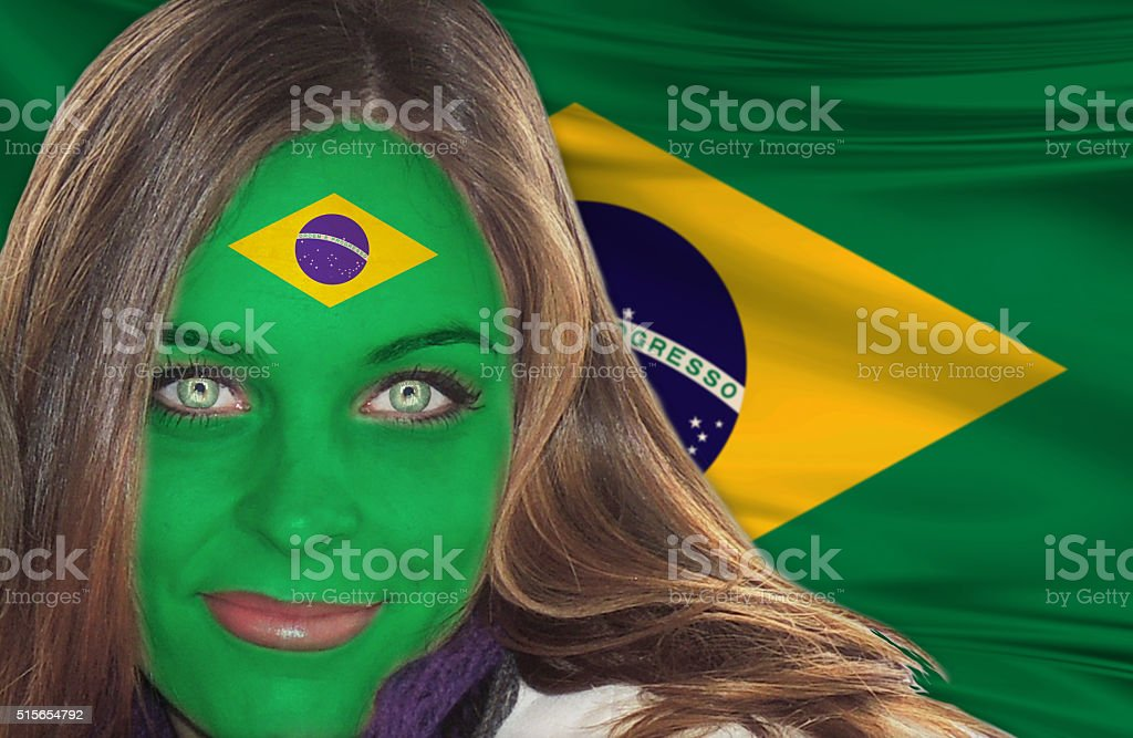 Beautiful  girl with the flag painted on her face stock photo
