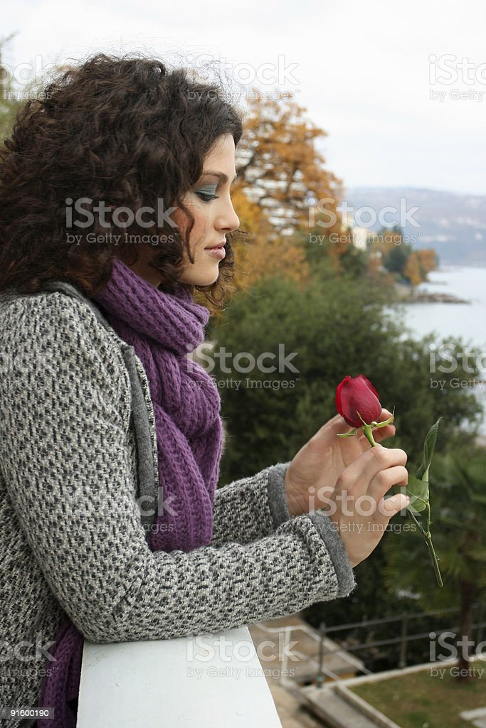 Beautiful girl with the rose royalty-free stock photo