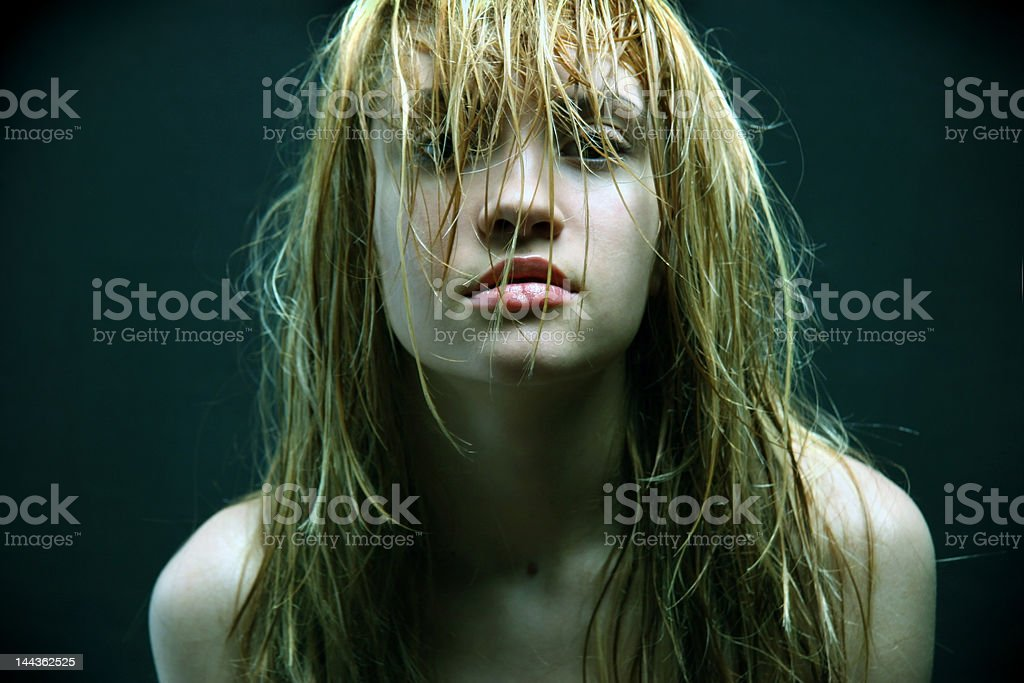 beautiful girl with wet hairs. royalty-free stock photo