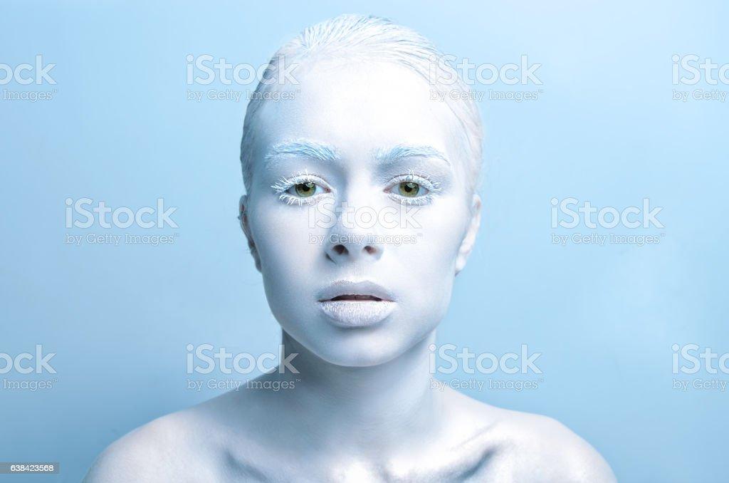 beautiful girl with white skin, lips and  hair albino. Photo stock photo