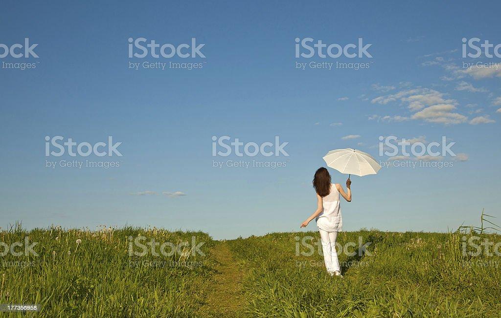 Beautiful girl with white umbrella royalty-free stock photo