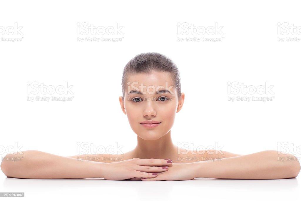 Beautiful girl, woman after cosmetic procedures, facelift, facial massage. Lizenzfreies stock-foto