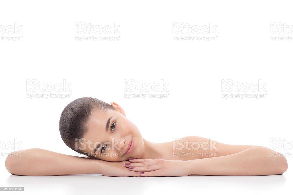 Beautiful girl, woman after cosmetic procedures, facelift, facial massage. photo libre de droits