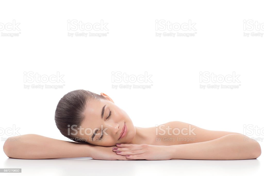 Beautiful girl, woman after cosmetic procedures, facelift, facial massage. royalty-free stock photo