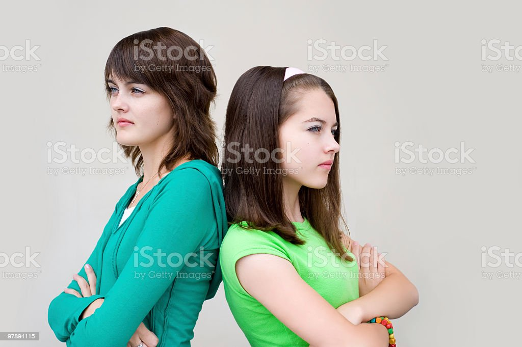 beautiful girls back to backs royalty-free stock photo