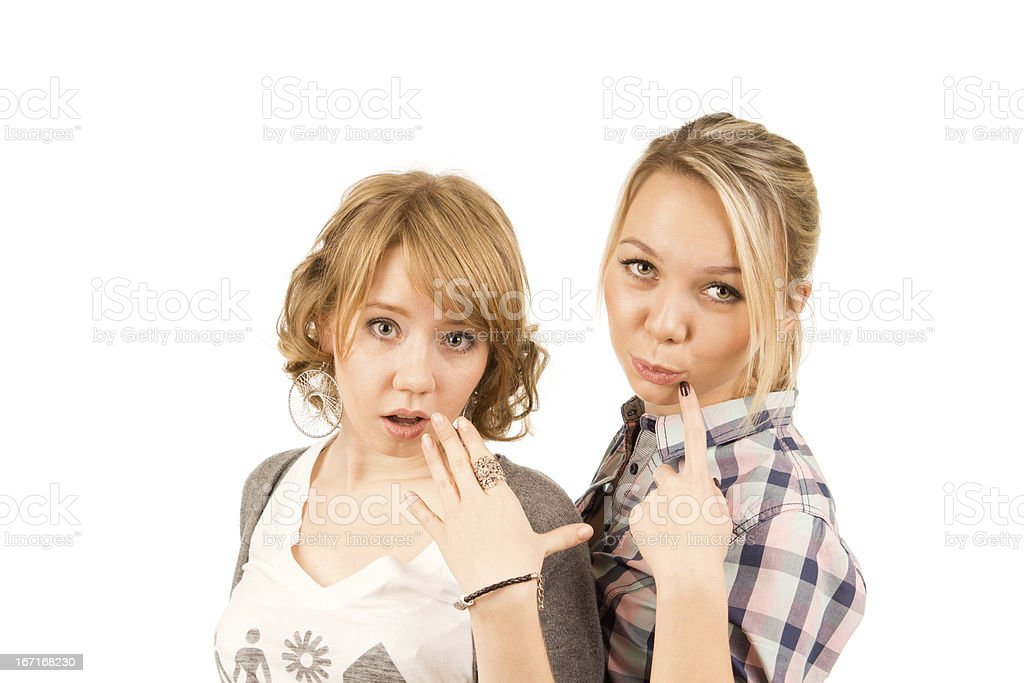 Beautiful girls expressing scepticism royalty-free stock photo