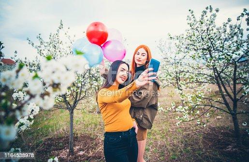 Beautiful girls friends making selfie